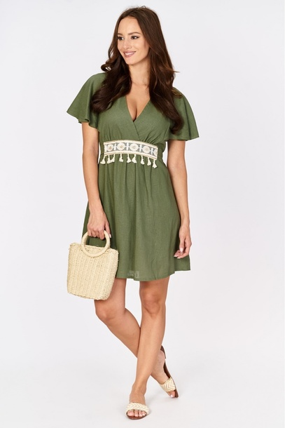 Lniana sukienka khaki z wiązaniem (1)